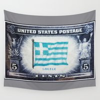 greece Wall Tapestries featuring Flag of Greece by lanjee