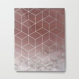 Geometric Cubes Deep Pink on Marble Metal Print