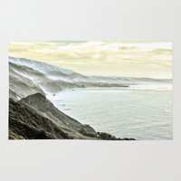 big sur Area & Throw Rugs featuring Somewhere over Big Sur. by samisiura