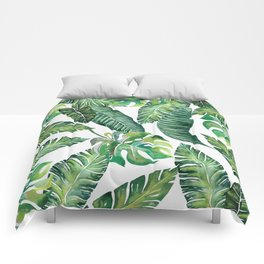 Jungle Leaves, Banana, Monstera #society6 Comforters