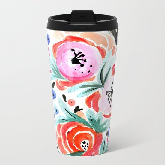 Tropical Floral Metal Travel Mug