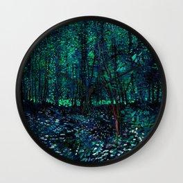 Vincent Van Gogh Trees & Underwood Teal Green Wall Clock