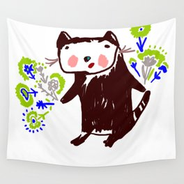 A little otter with flowers Wall Tapestry