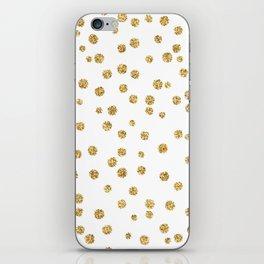 Gold glitter confetti on white - Metal gold dots iPhone Skin