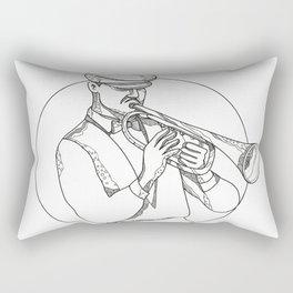 Jazz Musician Playing Trumpet Doodle Art Rectangular Pillow