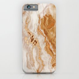 Glamorous Gold Glitter Vein Marble With Copper Sparkles iPhone Case