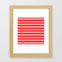 Large Horizontal Christmas Holiday Red Velvet and White Bed Stripe Framed Art Print