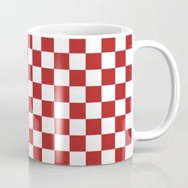 Small Checkered - White and Firebrick Red Coffee Mug