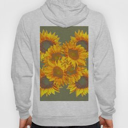Golden Sunflowers on Putty Color  Art Hoody