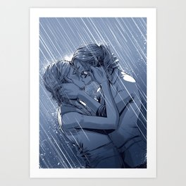 Supercat Kiss in the Rain BLUE Art Print