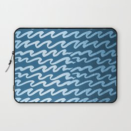 Abstract Waves - Blue Raspberry Shimmer on Saltwater Taffy Teal Laptop Sleeve