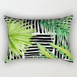 Tropical Leaves Watercolor on Black and White Pattern Rectangular Pillow