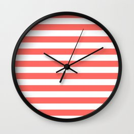 Narrow Horizontal Stripes - White and Pastel Red Wall Clock