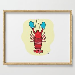 Red Maine Lobster with Winter Mittens on Beach Print Serving Tray