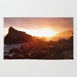 Big Sur's Rocky Shore Sunset Rug