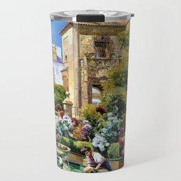 The Gardens of the Royal Alcazar, Seville, Spain by Manuel Garcia y Rodriguez Travel Mug
