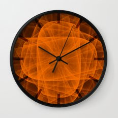 Eternal Rounded Cross in Orange Brown Wall Clock