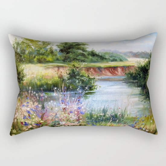 Summer day by the river Rectangular Pillow