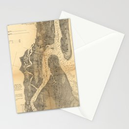 Vintage Map of St Augustine Harbor (1862) Stationery Cards