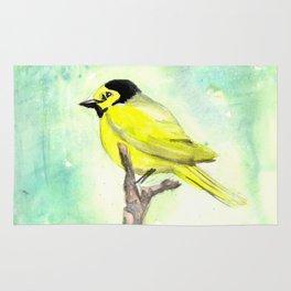 Hooded warbler in watercolor Rug