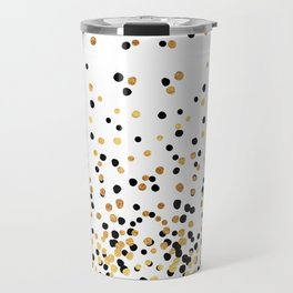 Floating Dots - Black and Gold on White Travel Mug