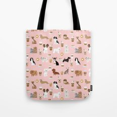 Small Dog Breeds with coffee latte frappe chihuahua bichon spaniel dachshund Tote Bag