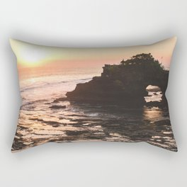 Temple During Sunset | Nature Landscape Photography of Temple on Arched Rock in Bali Indonesia Rectangular Pillow