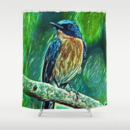 Tickell's Blue Flycatcher Dream   Painting Shower Curtain