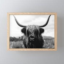 Scottish Highland Cattle Black and White Animal Framed Mini Art Print