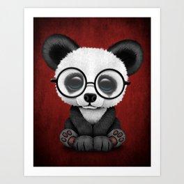 Cute Panda Bear Cub with Eye Glasses on Red Art Print