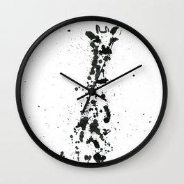 Giraffe ink splatter Wall Clock