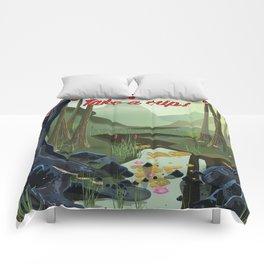 Vietnam Jungle Cave cartoon travel poster Comforters