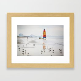 Boat on beach Framed Art Print