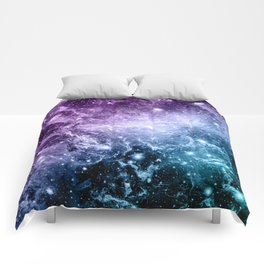 Purple Teal Galaxy Nebula Dream #4 #decor #art #society6 Comforters