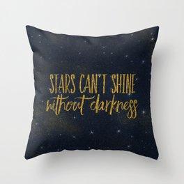 Stars- Darkness - sparkling gold glitter effect night typography Throw Pillow