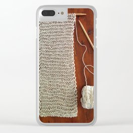 knitting,knit scarf, oatmeal color, natural color, craft, wood, Clear iPhone Case