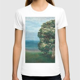 Flowering Chestnut Trees by the Sea landscape painting by Emilie Mediz Pelikan T-shirt