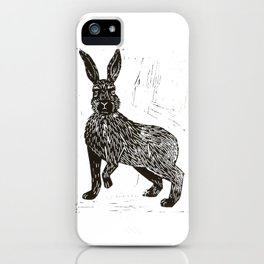 Hare Lino Print iPhone Case