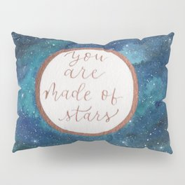 """""""Your are made of stars"""" watercolor galaxy painting with lettering Pillow Sham"""