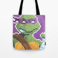 teenage mutant ninja turtles Tote Bags featuring Teenage Mutant Ninja Turtles - Donatello by James Brunner