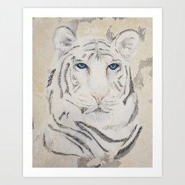 Original Art - White Tiger Original Painting (highly textured)  #white Art Print