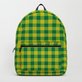 Lime Green And Green Flannel Pattern Backpack