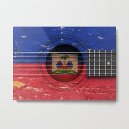 Old Vintage Acoustic Guitar with Haitian Flag Metal Print