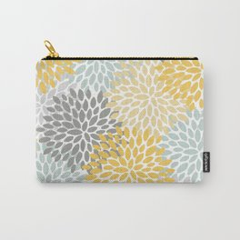 Floral Pattern, Yellow, Pale, Aqua, Blue and Gray Carry-All Pouch