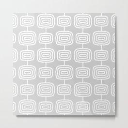 Mid Century Modern Atomic Rings Pattern 731 Gray Metal Print