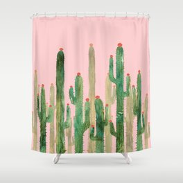 Cactus Four on Pink Shower Curtain