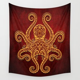 Intricate Red and Yellow Octopus Wall Tapestry