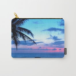 Tropical Island Beach Ocean Pink Blue Sunset Photo Carry-All Pouch
