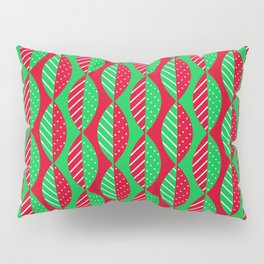 Christmas Mod Leaves in Red and Green Pillow Sham