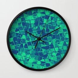Grid Square Mosaic Pattern (Blue Teal) Wall Clock